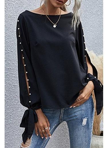 BLACK&GRACE Siyah Kolları İnci Detaylı Viskon Bluz Siyah